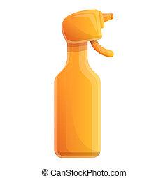 pictogram, verpulveren, stijl, fles, spotprent