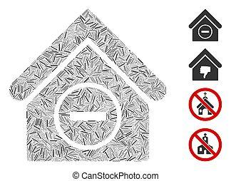 pictogram, verwijderen, vector, collage, lijn, gebouw