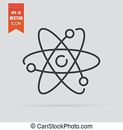 pictogram, vrijstaand, achtergrond., plat, atoom, stijl, grijze
