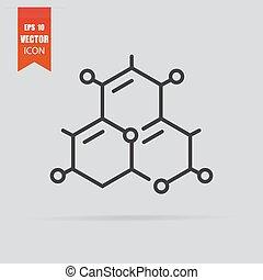 pictogram, vrijstaand, molecule, achtergrond., plat, stijl, grijze