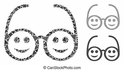 pictogram, vrolijke , samenstelling, items, bril, haveloos
