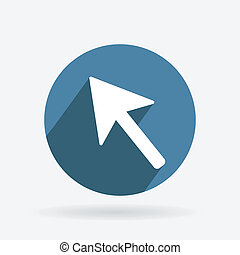pictogram, web, blauwe , shadow., cirkel, richtingwijzer