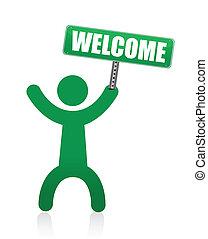 pictogram, welkom, menselijk, meldingsbord
