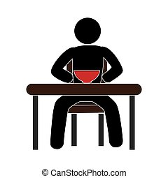 pictogram with man in the table having breakfast