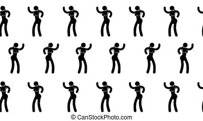 Pictogram woman dancing seamless video pattern. Icon people....