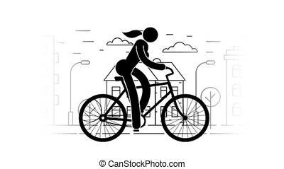 Pictogram woman riding a bicycle on the urban landscape...