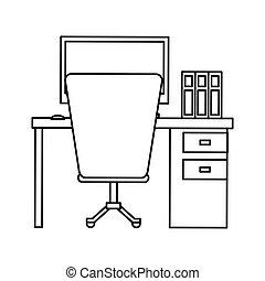 Büroarbeitsplatz clipart  Clip Art Vector of silhouette workplace office space equipment ...