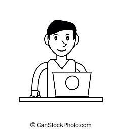pictogram young man using laptop on desk