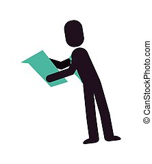 pictogram, zakenman, lezende , pictogram
