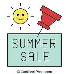 pictogram, zomer, duw, verwant, aantekening, spelden, verkoop, vector