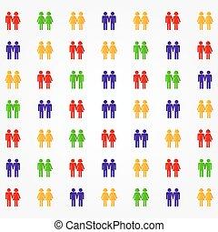 pictograma, de, diverso, pares