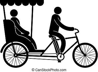 pictograma, motorista, passageiro, pedicab