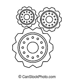 pictograma, três, roda engrenagem, motor, dente, ícone