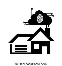 pictogramme, caractères doigt, sécurité maison, technologie