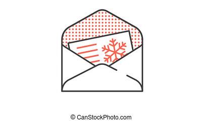 pictogramme, fait boucle, fête, envelope., channel., salutations, alpha, animé, noël carte, icône