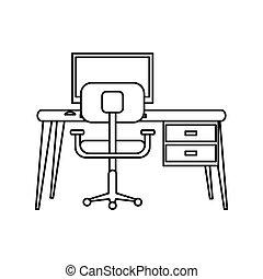 pictogramme, fauteuil, moderne, pc, lieu travail, bureau