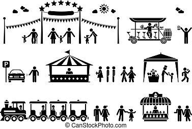 pictogramme, parc, amusement, icônes