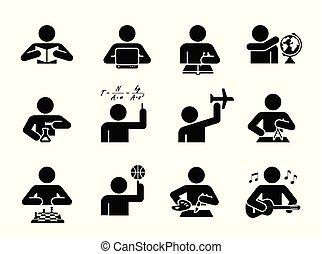 pictogramme, sports., education, différent, icônes, set., histoire, collection, days., assister, sujets, étudiant, icône, école, géographie, science, art, chimie, présentation, musique, classes., maths