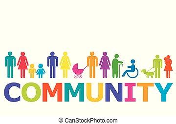 pictograms, concept, coloré, communauté, gens