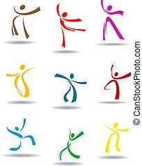 pictograms, dancing, volkeren
