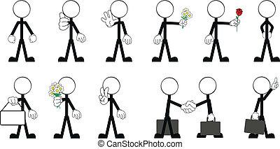pictograms, homem vara, vetorial, 3
