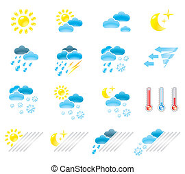 Pictograms which represent weather conditions