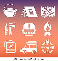 pictograms, kempingezés, gyűjtés, szabadban