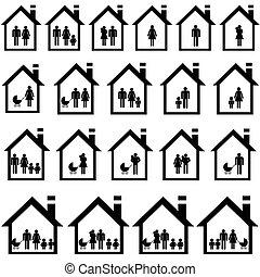 pictograms, o, dům, do, ubytovat se
