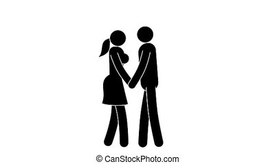 Pictograms people. Icons man and woman kiss. Loop animation...