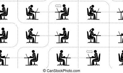 Pictograms people with laptops are sitting online in the...