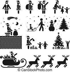 PICTOGRAMS - PICTOGRAM BLACK & WHITE ICON SET - CHRISTMAS ...