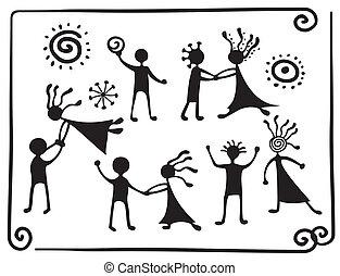 pictograms, rajz, tánc, emberek