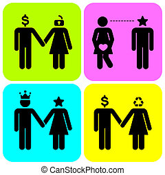 Pictograms - Stick Figures as couple