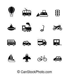 pictograms, vervoer, verzameling
