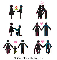 Pictograms which represent couple in love