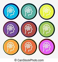 pictograph, de, engrenagem, em, cabeça, ícone, sinal., nove, multi coloriu, redondo, buttons., vetorial