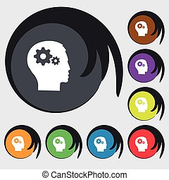 pictograph, de, engrenagem, em, cabeça, ícone, sinal., símbolos, ligado, oito, colorido, buttons., vetorial