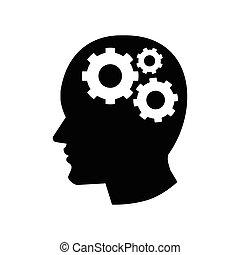 pictograph, de, engrenagem, em, cabeça, ícone, -, vetorial, iconic, desenho