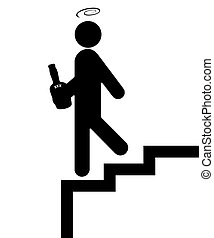 Alcoholic - Pictograph of Alcoholic falling down the Stairs