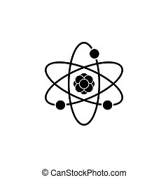 Pictograph of atom. vector illustration black on white background