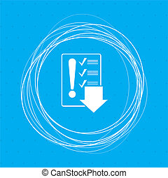 Pictograph of checklist icon on a blue background with abstract circles around and place for your text.