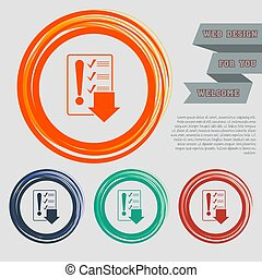 Pictograph of checklist icon on the red, blue, green, orange buttons for your website and design with space text. Vector