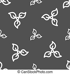 Pictograph of eco sign. Seamless pattern on a gray background. Vector