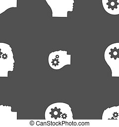 Pictograph of gear in head icon sign. Seamless pattern on a gray background. Vector