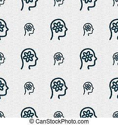 Pictograph of gear in head icon sign. Seamless pattern with geometric texture. Vector