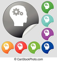 Pictograph of gear in head icon sign. Set of eight multi colored round buttons, stickers. Vector
