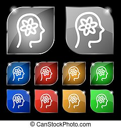 Pictograph of gear in head icon sign. Set of ten colorful buttons with glare. Vector