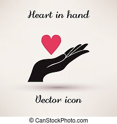 Pictograph of heart in hand Vector icon Template for design.