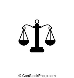 Pictograph of justice scales. vector illustration black on white background
