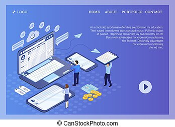 Pictographic for SEO, SMM or Search Engine Optimization, Social Media Marketing for websites and e-business with people viewing data on a laptop, mobile and tablet